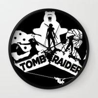 tomb raider Wall Clocks featuring Tomb Raider Reborn by Christophajay