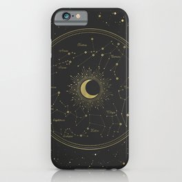 Gold Zodiac Map iPhone Case