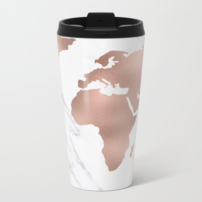Marble world map rose gold pink travel mug by mapmaker society6 marble world map rose gold pink travel mug gumiabroncs