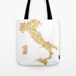 Map of italy with cities in gold - P Tote Bag