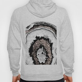 Gray Black White Agate with Rose Gold Glitter #1a #gem #decor #art #society6 Hoody