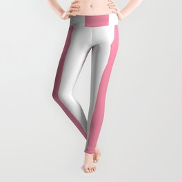 Vanilla ice pink - solid color - white vertical lines pattern Leggings
