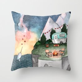 Night Camper Throw Pillow
