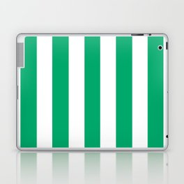 Jade green - solid color - white vertical lines pattern Laptop & iPad Skin