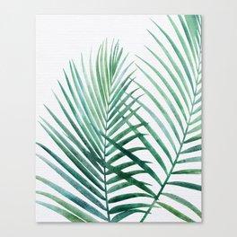 Emerald Palm Fronds Watercolor Canvas Print