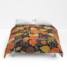 Retro Orange, Yellow, Brown, & Navy Floral Pattern Comforters