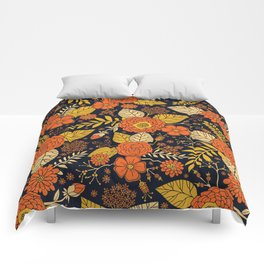Retro Orange, Yellow, Brown, & Navy Floral Pattern Comforters