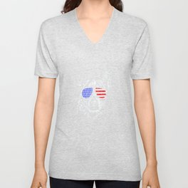 Funny Proud Cattle Dog Heeler American Flag T Shirt Tee Gift Unisex V-Neck