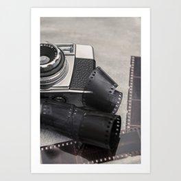 Vintage Camera and Film Art Print