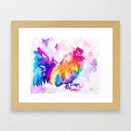 Splashy Rooster Framed Art Print