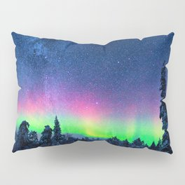 Aurora Borealis Over Wintry Mountains Pillow Sham