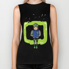 Illustration for t-shirt with girl in sneakers and college jacket Biker Tank