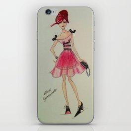 chiffon, chiffon dress, pink dress, pink chiffon dress,fashion sketch, fashion illustration, iPhone Skin