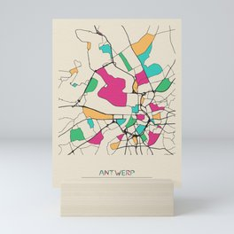 Colorful City Maps: Antwerp, Belgium Mini Art Print
