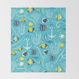 Deep Blue Sea Aqua Throw Blanket