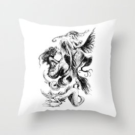 Mermaids and Harpies Throw Pillow