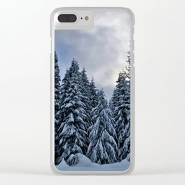 Frosty Trees Clear iPhone Case