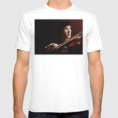 Violin MEDIUM Mens Fitted Tee White