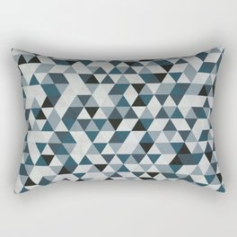 Sea Blue and Grey / Gray - Hipster Geometric Triangle Pattern 02 Rectangular Pillow