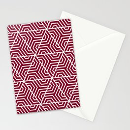 Oxblood - purple - Geometric Seamless Triangles Pattern Stationery Cards