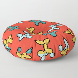 Balloon Animal Dogs Pattern in Red Floor Pillow