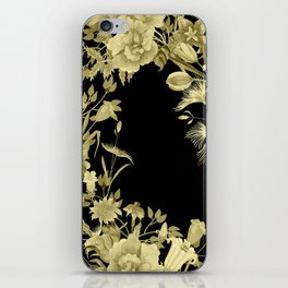 Stardust Black and Gold Floral Motif iPhone Skin