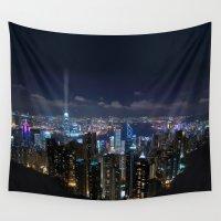 hong kong Wall Tapestries featuring Hong Kong- Victoria Peak by Parrish