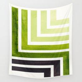 Sap Green Minimalist Inca Geometric Mid Century Modern Watercolor Pattern Maze Wall Tapestry
