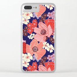 Wild Poppies on violet Clear iPhone Case