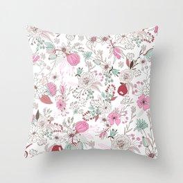 Fuchsia pastel green white abstract floral illustration Throw Pillow