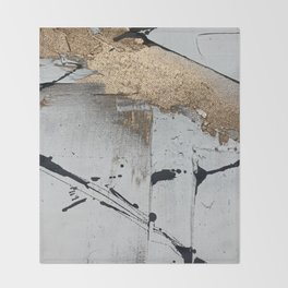 Still: an abstract mixed media piece in black, white, and gold by Alyssa Hamilton Art Throw Blanket