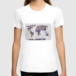 """Star map. Never stop exploring...II"". World map. T-shirt"