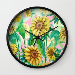 Sunflowers on Pink Wall Clock