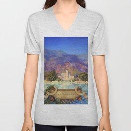 Broadmoor Hotel, Colorado Springs landscape by Maxfield Parrish Unisex V-Neck