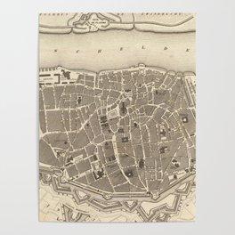 Vintage Map of Antwerp Belgium (1845) Poster