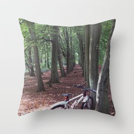 Bike in the woodland Throw Pillow