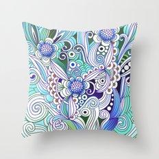 Flower fire, bright blues Throw Pillow