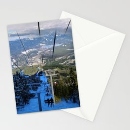 Ski lifts summer and winter Stationery Cards
