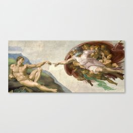 Creation of Adam - Painted by Michelangelo Canvas Print