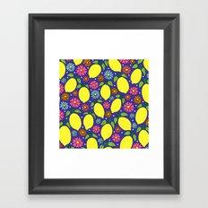 Lemons & Flowers Framed Art Print
