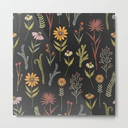 flat lay floral pattern on a dark background Metal Print