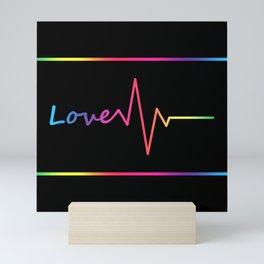 Rainbow Love Heartbeat Mini Art Print