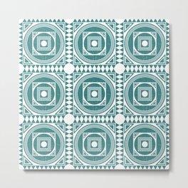 Mediterranean Pattern 4 - Tile Pattern Designs - Geometric - Teal - Ceramic Tile - Surface Pattern Metal Print