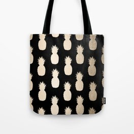 Gold Pineapples Pattern Black Tote Bag