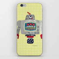 50s iPhone & iPod Skins featuring pete 50s retro robot by blossyfloss