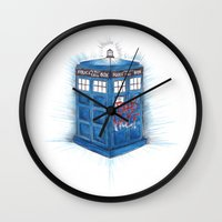 bad wolf Wall Clocks featuring Bad Wolf by ReadThisVA