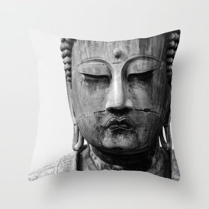 Buddha Statue, Buddha Photograph, Black and White Buddha Print Throw Pillow