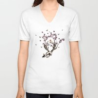animal skull V-neck T-shirts featuring Animal Skull and Butterflies by Paula Belle Flores