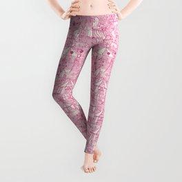 retro circus pink ivory Leggings