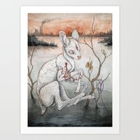 plain Art Prints featuring Ghosts From The Flood Plain by Caitlin Hackett